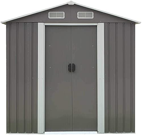 6 x 4 Feet Outdoor Storage Shed with Vents Garden Shed Metal Utility Storage House for Backyard Patio