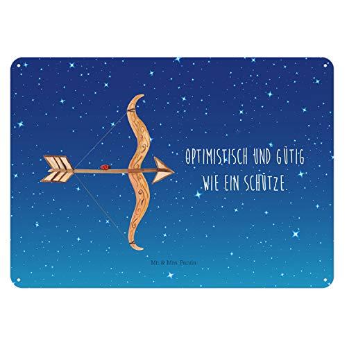 Mr. & Mrs. Panda Schild, Wandschild, 40x30cm Blechschild Sternzeichen Schütze mit Spruch - Farbe Sternenhimmel Blau