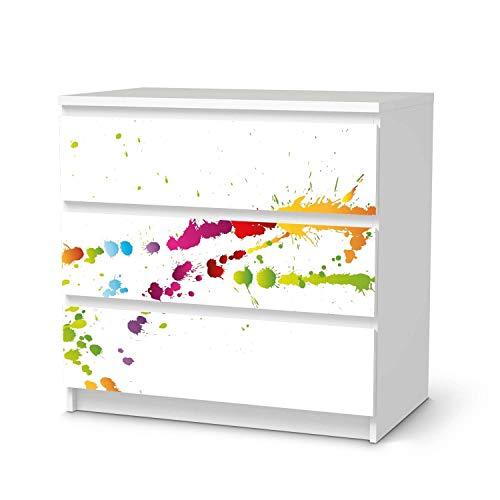 creatisto Möbel-Folie passend für IKEA Malm Kommode 3 Schubladen I Möbelfolie - Möbel-Tattoo Sticker Aufkleber I Deko Ideen Wohnung für Esszimmer und Wohnzimmer - Design: Splash 2