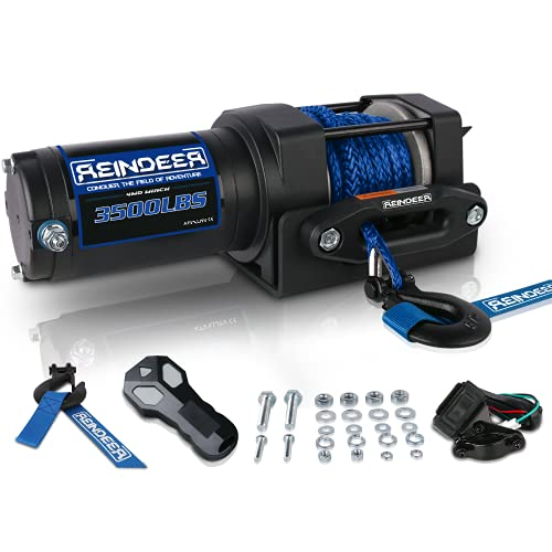 REINDEER New 12V Winch 3500 lb Load Capacity Electric Winch Kit Synthetic Rope with Hawse Fairlead Waterproof IP67 with Wireless Remotes