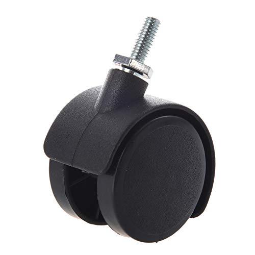 CMMWA Ruedas para Muebles Stem roscado de 6 mm 40 mm de Doble Rueda giratoria Black (Size : 1.5 Inch Universal)