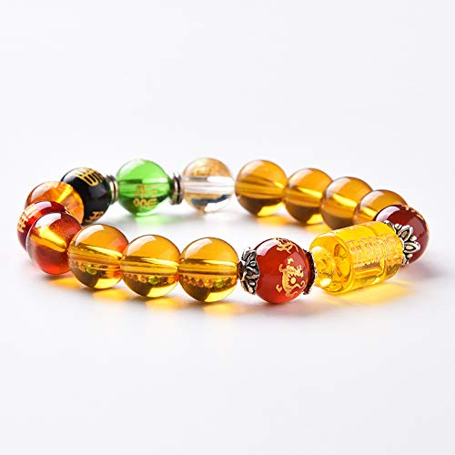 BOYULL Feng Shui Citrine Gem Stone Wealth Porsperity Bracelet with Dragon, White Tiger, Suzaku, Basalt Beads, Attract Wealth and Good Luck, Deluxe Box Included