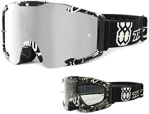 TWO-X Bomb Crossbrille Text Glas verspiegelt Silber MX Brille Motocross Enduro Spiegelglas Motorradbrille Anti Scratch MX Schutzbrille