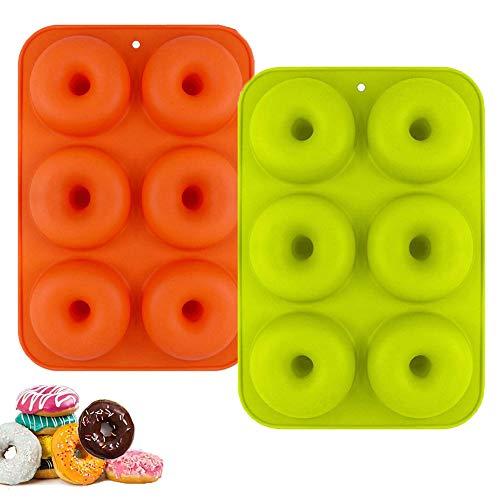 WENTS Molde para Donut de Silicona 2Pieza Antiadherente Molde de Silicona para Hornear Donut para Pasteles Galletas Bagels Magdalenas Lavavajillas Horno Microondas Congelador(Naranja/Verde)