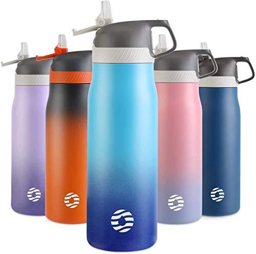 FJbottle Vakuum Isolierte Edelstahl Trinkflasche 550ml/710ml auslaufsichere Wasserflasche BPA-frei Thermosflasche Sportflasche mit Strohhalm für Sport/Outdoor/Camping/Fahrrad/Fitness/Yoga/Schule