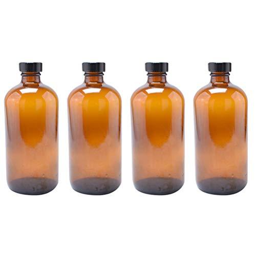 ULTECHNOVO 4 St Braunglasflasche 230 ml Apotheker Glasflasche Wiederverwendbar Nachfüllbar Ätherische Öl Shampoo Lotion Flüssigkeiten Chemisches Reagenz Behälter Mit Schwarz Deckel