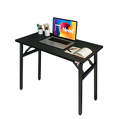"""Need Folding Desk - 31 1/2"""" Length No Assembly Foldable Small Computer Table,Sturdy and Heavy Duty Writing Desk for Small Spaces and -Damage Free Deliver(Black Walnut) AC5CB8040"""