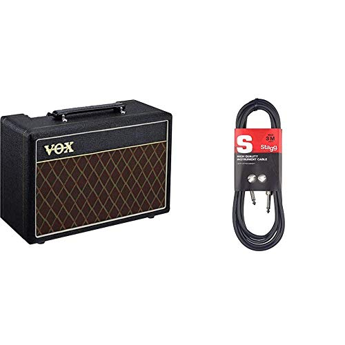 VOX Pathfinder 10-10W Guitar Practice Amplifier Combo & Stagg 3m High Quality Phone to Phone Plug Instrument Cable