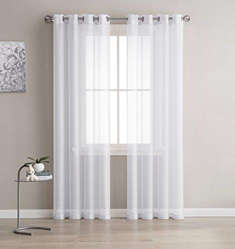 Meilleur Sheer Grommet fenêtre Panneaux de rideaux pour chambre à coucher, salon, cuisine, chambre de Kid et l'extérieur durable Polyester-2 pièces, polyester & polyester mélangé, blanc, 54x108 inch