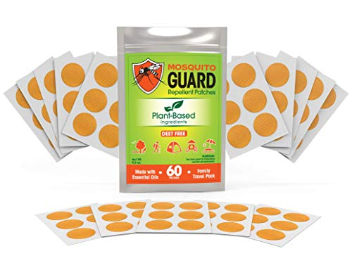 Mosquito Guard Repellent Stickers / Patches for Kids (60 Pack) Made with Natural Plant Based Ingredients - Citronella, Lemongrass, Geraniol - Deet Free