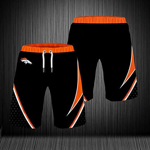 NFL Sommer Herren Shorts, Denver Broncos Strandhose, 3D gefärbte und gefärbte atmungsaktive Stretch Trainingshose für Outdoor Training und Laufen