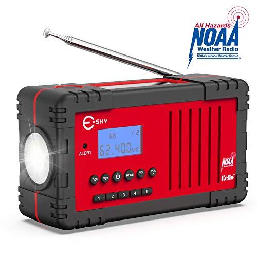 NOAA Weather Radio - Esky Upgraded Emergency Solar Hand Crank Radio with AM/FM, LED Flashlight, 2200mAh Power Bank and SOS Alarm