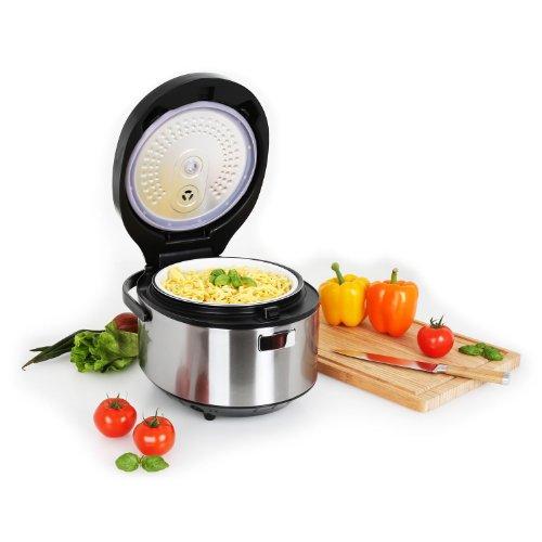 Klarstein Omnicooker Multicooker Mulit-Kocher Kochtopf elektrisch Reiskocher Dampfgarer und Schnellkochtopf in einem (860W, Timer, 30 Automatik-Programme, Touchpad, Display) rot-silber