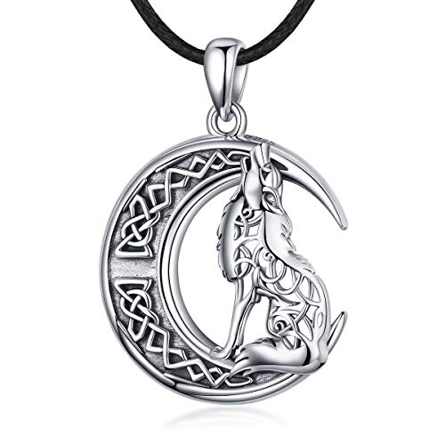 INFUSEU Wolf Crescent Moon Pendant Necklace for Women Men Sterling Silver Vintage Celtic Knot Irish Charm Jewelry, 24' Black Wax Rope