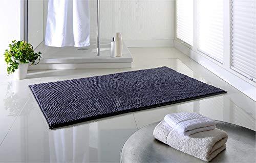 Dreamhome hochwertige Badematte rutschfest Badezimmerteppich Badvorleger schnell trocknender Duschvorleger 65x110 pflegeleichter Anti-Rutsch Grau