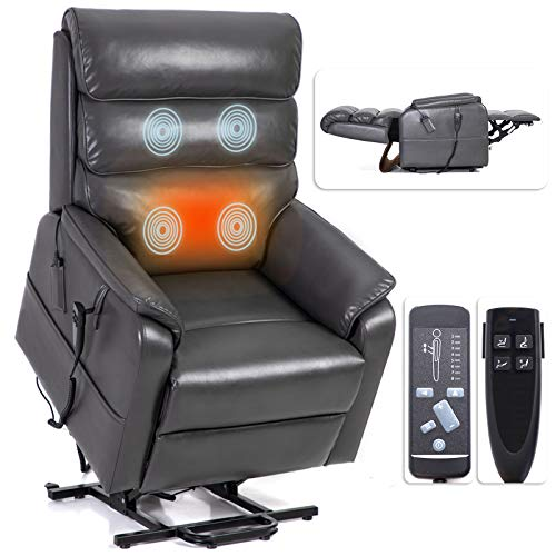 Irene House 9188 Dual OKIN Motor Lift Chair Recliners for Elderly Infinite Position Lay Flat Recliner with Heat Massage Electric Power Lift Recliner Chair Sofa (Leather Grey)