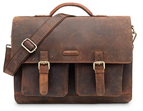LEABAGS Miami Aktentasche Laptoptasche 15 Zoll Schultertasche aus echtem Leder, (LxBxH): ca. 40 x 12...