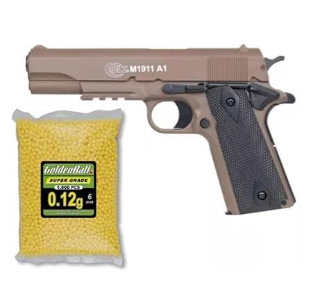 COLT® Lote/Pack 1911 CYBERGUN Tan 0,7 Julios MAS 2500 Bolas 0.12GR PVC 6mm Valhalla