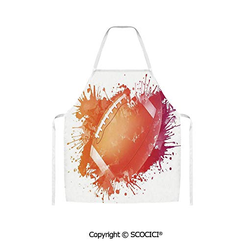 SCOCICI Rugby Ball in Watercolors Splash Recreational Leisure Sports Run Design Unisex Kitchen Chef Apron for Cooking Baking Crafting Gardening and BBQ
