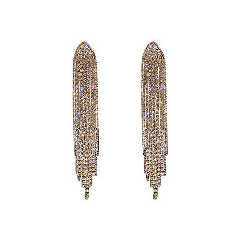Diamante Full Diamond Bright Cubic Cubbic Zirconia Pendientes Borla Larga Cristal Pendientes Boda Para Mujeres Niñas Banquete Novia Pendientes Lujo Pendientes Regalos,Oro