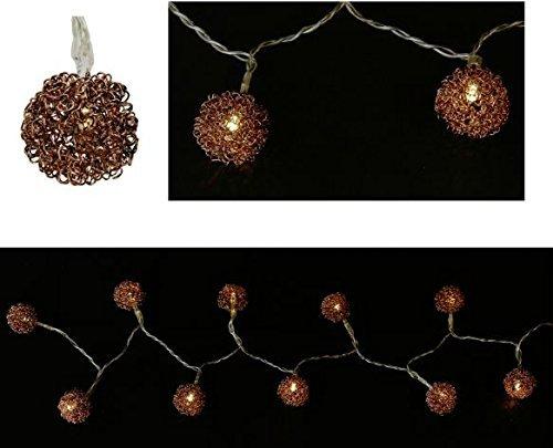 Unbekannt 'Guirlande Lumineuse Boules Bronze – 10 Éclairage LED pour l'intérieur – – éclairage de Noël – Noël – Décoration de Noël