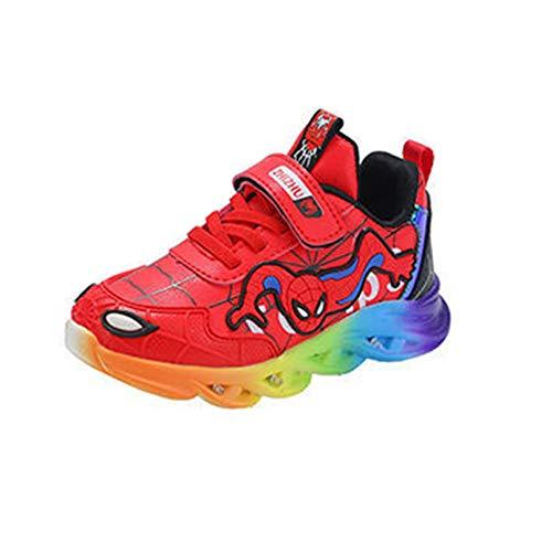 XNheadPS Spiderman garçons Lumineux Chaussures Enfant Automne Hiver Baskets décontractées léger sans Lacet Baskets noël Halloween Cadeau Chaussures de Sport imperméables,Red- 25 Inner Length 15.6