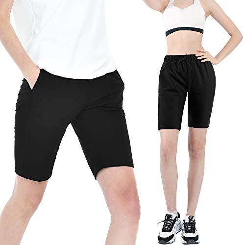 KEBILI Sauna Suit Women Weight Loss Gym Fitness Exercise Workout Sweat Training Hot Fat Men (Black Half Pants, Pants only - 4XL)