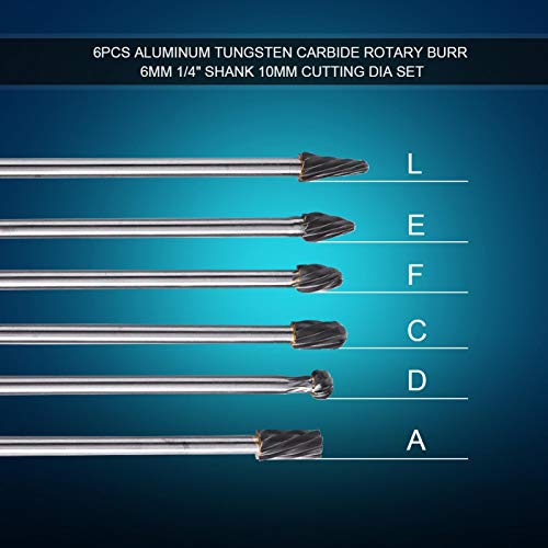 Limas rotativas rebarbas, 6pcs tungstênio carboneto de tungstênio As rebarbas rotativas de alumínio definem um diâmetro de corte de 10 mm haste de 6 mm