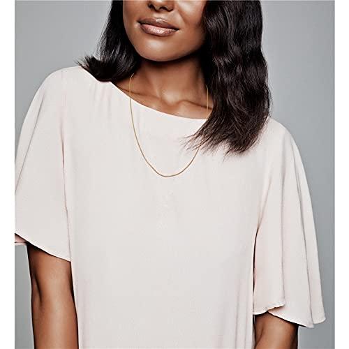 MIKUAX Collar Collar de Cadena de Cable clásico de Plata esterlina para Mujer, Collar de Color Oro Rosa, Cadena de Plata esterlina, joyería, fabricación de Regalos