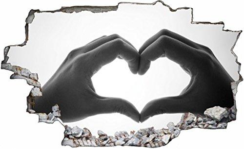 DesFoli Herz Liebe Love 3D Look Wandtattoo 70 x 115 cm Wanddurchbruch Wandbild Sticker Aufkleber C531