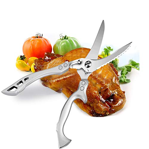 Kitchen Shears, AlfaView Multi Function Heavy Duty Kitchen Scissors,Multipurpose Poultry Scissors for Chicken/Poultry/Fish/Meat/Vegetables/Herbs/BBQ (Silver-New Version)