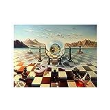 Kemeinuo Cuadros Modernos Salvador Dalí surrealismo ajedrez en el mar Lienzo Pinturas Carteles Abstractos e Impresiones Cuadros de Pared decoración del hogar 60x90cm