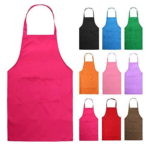 Hmilydyk Kochschürze, Unisex-Modell, Schürze mit praktischer Tasche, Langlebig, Grillen und Backen Hot Pink