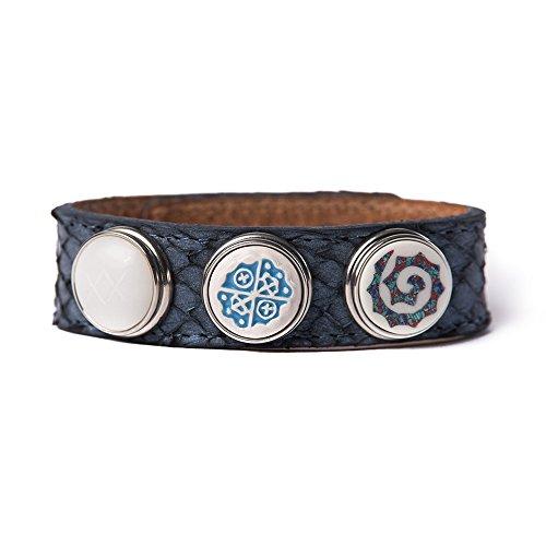 Noosa Armband Wrap Bracelet Classic Skinny Midnight Blue Salmon, Grösse:S