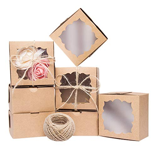 YunKo 50 Pack Brown Bakery Boxes with Window 4x4x2.5 inches Cookie Boxes with Window for Gift Giving
