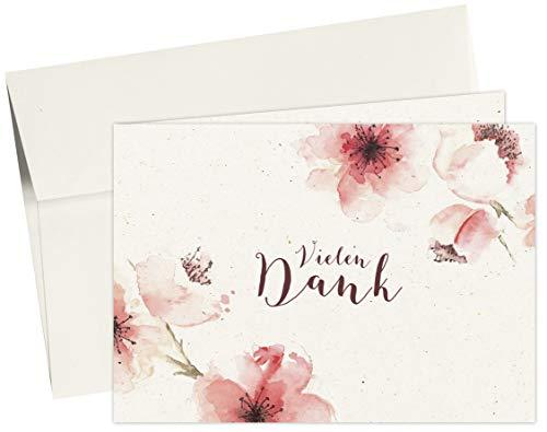 20 Karten & 20 Umschläge: Klappkarten Dankeskarten – Kirschblüten – DIN A6 im Set, Danke sagen mit Danksagungskarten nach Hochzeit, Geburt, Baby, Taufe, Geburtstag, Konfirmation, Kommunion, Jubiläum