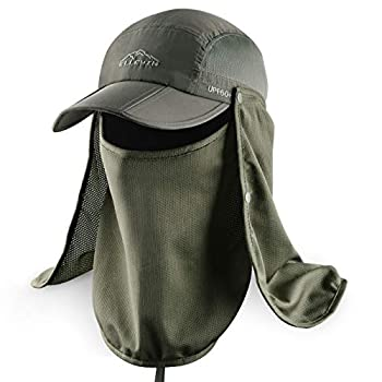 ELLEWIN Outdoor Fishing Flap Hat UPF50 Sun Cap Removable Mesh Face Neck Cover D-army Green/ Mesh Neck Cover M-L-XL