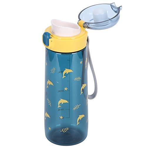 Botella de agua para deportes, tapa de rebote de plástico Taza de agua portátil resistente al(SL7016A navy, 480ml)