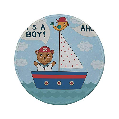 Rutschfreies Gummi-Rundmaus-Pad Ahoi es ist ein Junge süßes Babyparty-Thema Es ist ein Junge im nautischen Stil Bär und Vogel im Boot mehrfarbig 7.9
