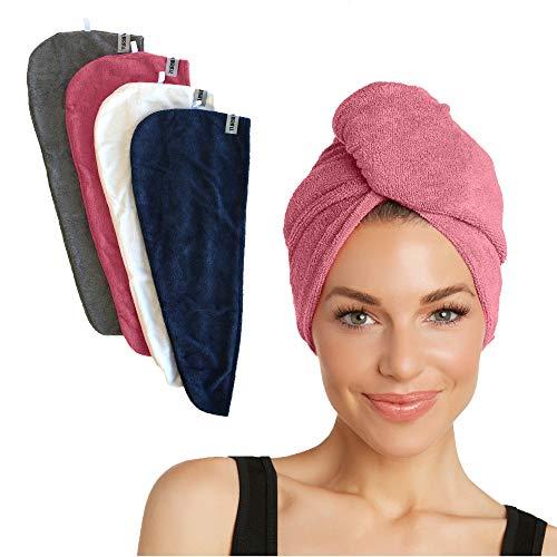 Turbie Twist Super Absorbent Microfiber Hair Towel - Hands Free Hair Drying Towel - 4 Pack (Pink, Navy, Grey, White)