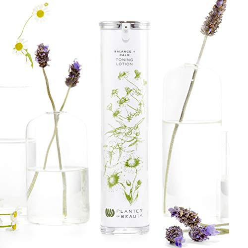 Organic Face Toner & Hydrating Toner Lotion - Luxury Natural Cleansing Toner (Balance + Calm) - Certified Vegan, Cruelty Free & Organic Skin Toner & Makeup Remover (4 Oz) by Planted in Beauty