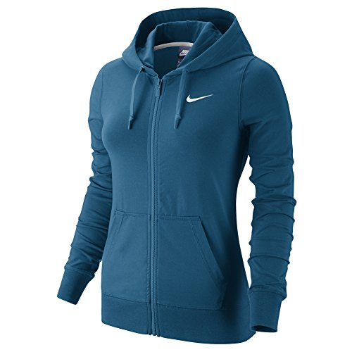 Nike W NSW Hoodie FZ Jrsy, Sweatjacke L Blau (Industrie-Blau/weiß)