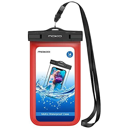 MoKo Funda Impermeable - Universal Waterproof para iPhone 12/iPhone 12 Mini/iPhone 12 Pro/iPhone XS/XS MAX/XR Galaxy S7/S7 Edge/ P7/Samsung S21 y teléfono 5.7' - IPX8 Certificado, Rojo