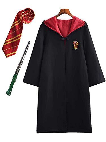 Kinder Erwachsene Cosplay Kostüm Harry Potter Kostüm Umhang Film Fanartikel Outfit Set Zauberstab Krawatte Schal Brille Karneval Verkleidung Fasching Halloween schwarz 115-185 Groß Gr.