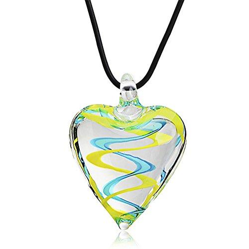 aiuin 1pcs Halskette Damen-Anhänger in Blau und Gelb in Herzform Halskette Spirale aus Glas Geschenk für Mädchen Schmuck Damen Gestreift mit einer Handtasche Schmuck)