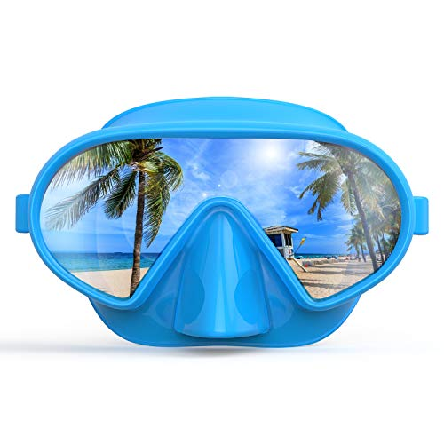 Fxexblin Adults Swim Mask Swimming Goggles with Nose Cover Snorkel Scuba Diving Snorkeling, Anti-Fog Lens Leakproof Skirt 180 Panoramic View Face Dive Masks for Youth Women Men