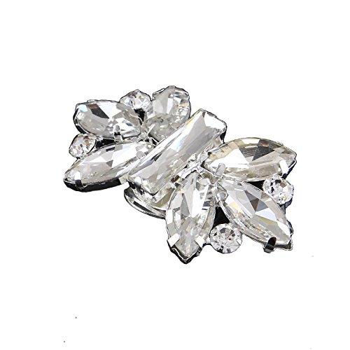 Santfe - Clip decorative in cristallo brillante per scarpe, ideali per scarpe da sposa o come accessori per borse e abiti trasparente Clear