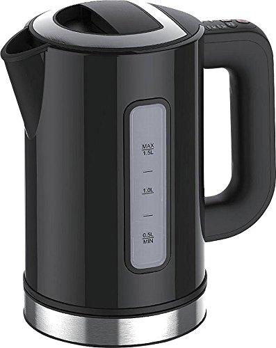 Rosenstein & Söhne Thermometer Wasserkocher: Design-Wasserkocher WSK-250.des, 2500W, 1,5L, Temperaturwahl, schwarz (Wasserkocher mit Temperatur)