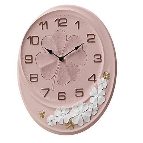 SuoYn 12 Pulgadas Oval diseño Floral Reloj de Pared Decorativo Arte Digital Marco de Resina Reloj con Pilas Inicio/Cocina/Oficina/Reloj Escolar, fácil d (Color : Rosado, tamaño : 12inches)