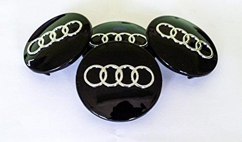 GooDealShop - Coprimozzi con logo, 4 pezzi, colore: nero, diametro 60 mm